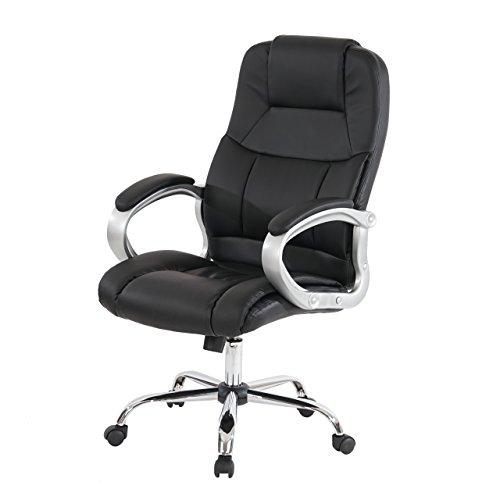 Mendler Profi-Bürostuhl Boston XXL Chefsessel Drehstuhl US-Version, 150kg belastbar, Kunstleder ~ schwarz