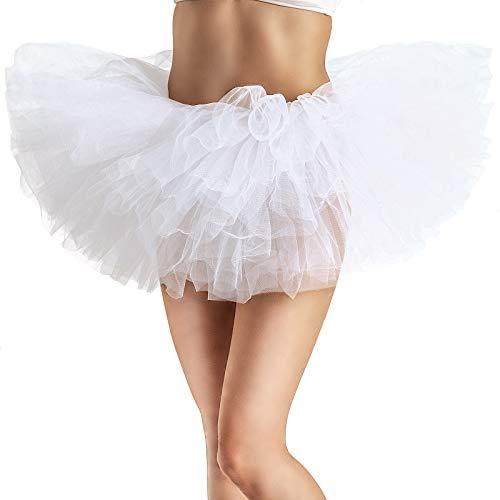 Adult Tutu Skirt, Tulle Tutus for Women, Teens Ballet Skirts Classic 5 Layers White