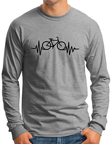 OM3® Herzschlag-Fahrrad Langarm Shirt | Herren | Bike Heartbeat Bicycle Rad Drahtesel | Grau Meliert, XXL