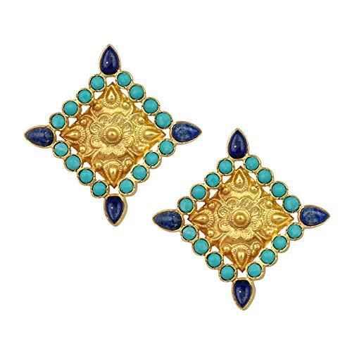 Pendientes de turquesa Lapislázuli Pendientes de plata de ley 925 Pendientes hechos a mano, pendientes finos, pendientes únicos
