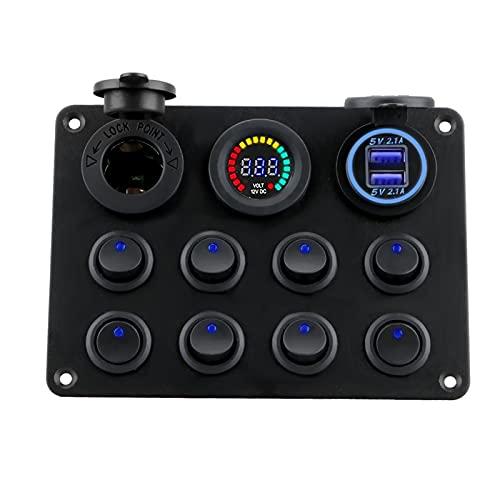 MeiKeL 12-24V 8 panel de interruptores de palangle de pandilla dual USB Botón de empuje del coche del cargador interruptor para coche RV Camión ATV UTV Barco de caravanas de campista ( Color : Blue )