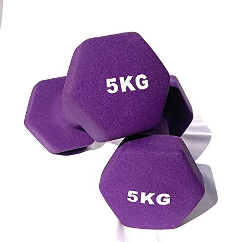 Mancuernas de Neopreno Gimnasio y Entrenamiento en Casa Fitness Pilates Musculación Gym Aire Libre Pesas Hexagonales Mate 2/3/4/5 Kg (Morado, 3 Kilogramos)
