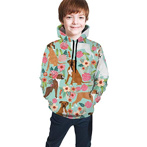 Boxer Dog Flowers Florals Mint Cute Flowers Trendy Painted Vintage Florals Boxer Boy's Fashion Hoodies Sweatshirt Tops with Front Pocket