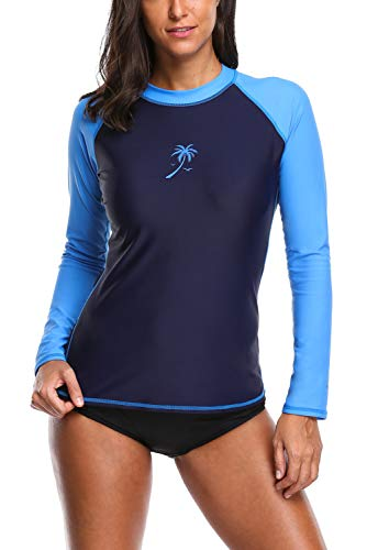Vegatos Damen Rash Guard UV Schutz Langarm Sportlich Badeshirt Slim-Fit Schwimmshirt UPF 50+ Uv-Shirt Dunkel Blau S