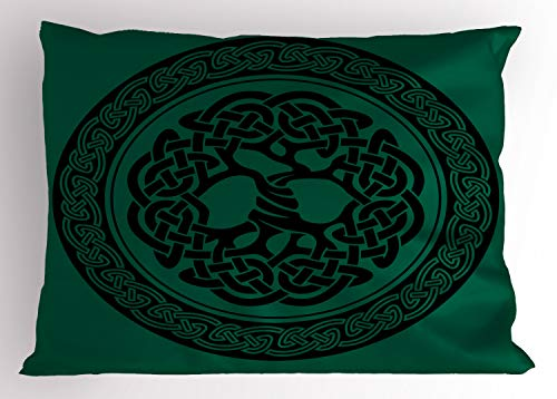 Ambesonne Celtic Pillow Sham, Monochrome Tree of Life Illustration with Timeless European Motif, Decorative Standard Queen Size Printed Pillowcase, 30' X 20', Forest Green