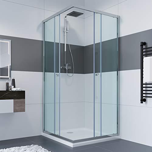 80 x 80 x 185 cm Duschkabine Eckeinstieg Doppel Schiebetür Echtglas Duschwand Duschabtrennung-glas ohne Duschtasse