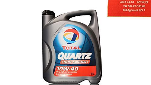 Total Quartz 7000 10W40 5 litros. Lubricante sintético desarrollado para Todo Tipo de Motores Gasolina o Diesel de vehículo Ligero en Todos los Tipos de conducción.