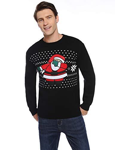 Aibrou Suéter Navidad para Hombre,Jersey Papá Noel con Cuello Redondo Jerséis de Punto Regalo Ideal de Año Nuevo Talla S-XXL
