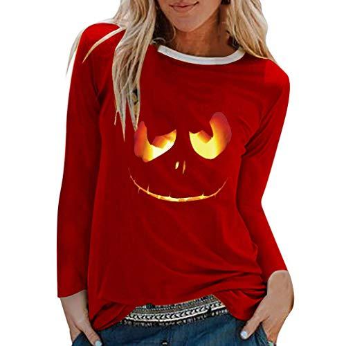 Buy NANTE Top Loose Women's Blouse Halloween Print T-Shirt O-Neck Shirts Long Sleeve Tops Womens Clo...