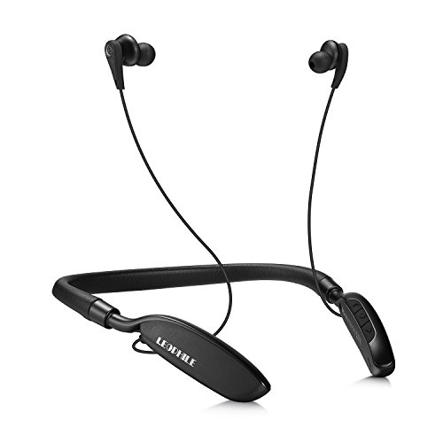LEOPHILE ZERO Active Noise Cancelling Bluetooth Neckband Headphones, Wireless 4.1 Stereo Headset In Ear Earbuds with Built-in Microphone and Wired Mode -Black