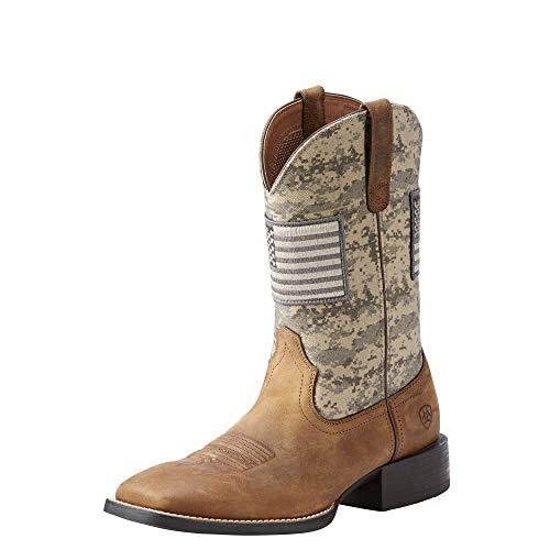 Ariat Men's Sport Patriot Western Boot, Distressed Brown/Sage Camo Print, 11 D US