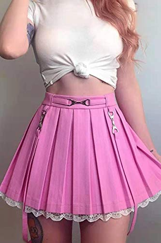 Minirock Harajuku Hohe Taill Slim Fit Faltenrock Vintage Freizeitrock Gothic Spitzenbesatz Patchwork Mini Kurz Rock Träger Streetwear Mädchen Rock (Pink Pleated Skirt,M)