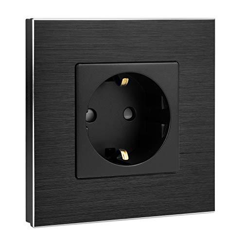 Navaris Aluminium Schuko Steckdose einfach - mit Montagematerial - Design Schutzkontakt Einbau Wandsteckdose mit Rahmen aus Aluminium - in Schwarz