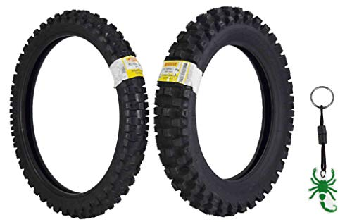 Pirelli Scorpion MX32 Extra X Dirt Bike Front and Rear Motocross Tires Set w Authentic Pirelli Key Chain (80/100-21 F 120/100-18 R)