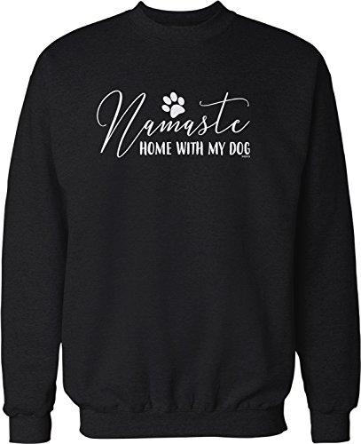 NOFO Clothing Co Namaste, Home with My Dog Crew Neck Sweatshirt, XXXL Black