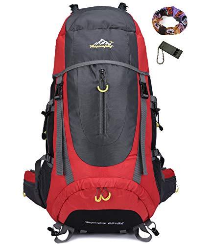 70L Trekkingrucksacke Rucksäck Wanderrucksäcke Reiserucksack Damen Herren (Rot)