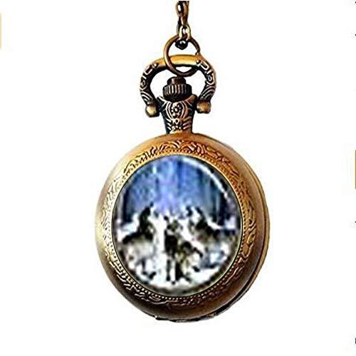 Relojes de bolsillo,Reloj de bolsillo y cadena, Reloj de bolsillo con colgante de lobo, Lobos...