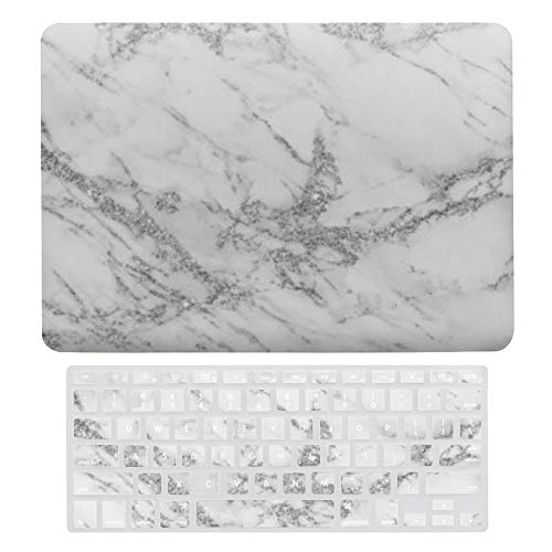 Macbook Air 13 Inch Case(A1369 & A1466, Older Version 2010 2017 Release), Plastic Hard Protective Laptop Case Shell With Keyboard Cover, Elegant Chic White Gray Silver Glitter Marble