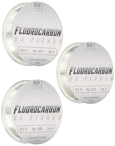 Akiro 100% Fluorocarbon, Filo da Pesca Unisex – Adulto, Trasparente, 0.22-0.25-0.27 mm