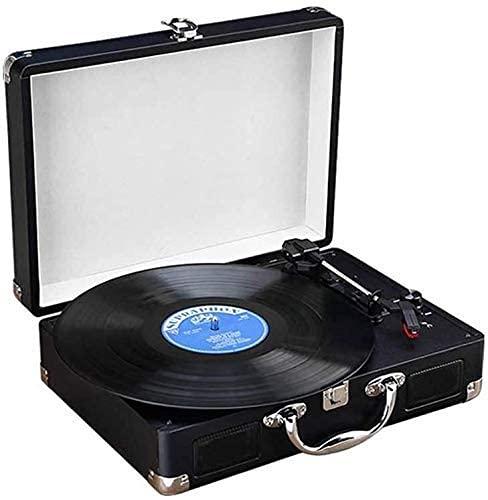 ZSMLB Tocadiscos Tocadiscos Vintage 3 velocidades Altavoz estéreo Reproductor Discos portátil Correa para Maleta