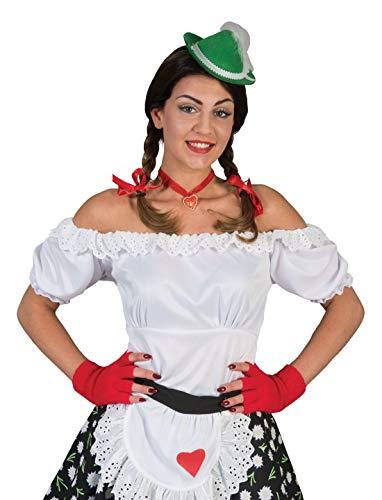 erdbeerclown - Damen Frauen Kostüm Schulterfreie Dirndl Bluse mit Pump-Ärmel, Tirol Shirt, perfekt für Das Oktoberfest Karneval und Fasching, S/M, Weiß