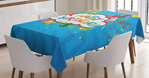 "Ambesonne Birthday Tablecloth, Wavy Blue Colored Backdrop with Greeting Text Party Hats Best Wishes, Rectangular Table Cover for Dining Room Kitchen Decor, 60"" X 90"", Blue Green"