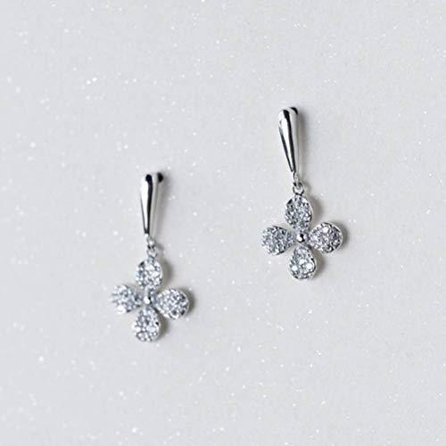WOZUIMEI S925 Pendientes de Plata Estilo de Arte Coreano Femenino Pendientes de Flores de Diamantes Temperamento FloristaUn par
