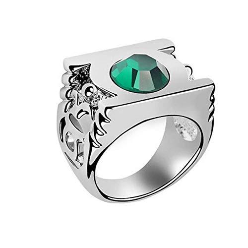 JZESIDE Green Lantern Ring, The Green Crystal Green Lantern Anillo de Acero Inoxidable para Hombres 11 Verde