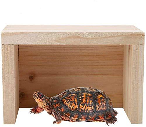 Cueva de tortugas de reptiles, caja de escondites de reptiles de madera Ocultar piel de reptiles Hábitat Humidificar cueva Acuario pecera decoración cueva adorno decoración para anfibios tortuga