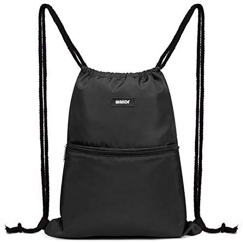 WANDF Turnbeutel Sportbeutel Gym Bag Mit Aussentasche Verstellbar Tunnelzug Gym Sack Rucksack für Damen Herren Kinder (A - Schwarz)