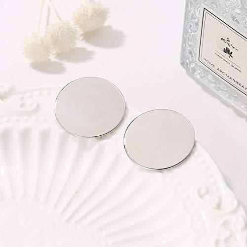 weichuang Pendientes de clip redondos brillantes de oro sin perforar estilo simple orejas de círculo transparente para mujeres (Color de metal: Plata)