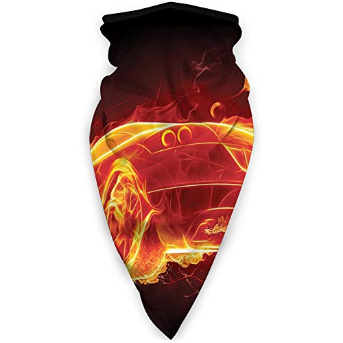 Cómoda cubierta de cara a prueba de viento, coche en llamas ardiendo caliente moderno coche y fuego creativo concepto.jpg, decoraciones faciales impresas para todo el mundo