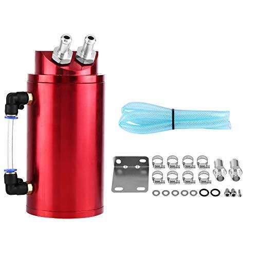Zerone Depósito Aceite de Coche,Captura de Aceite de Motor,Decantador de Aceite, Aluminio Pulido, Rojo