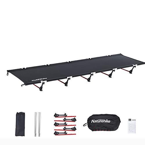 Naturehike アウトドア ベッド キャンプ コット 簡易 コンパクト 折りたたみ式 ベッド 超軽量 耐荷重150KG 収納ケース付き (ブラック)