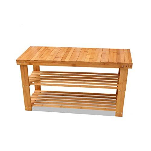NSYNSY Zapatero para Muebles, Soporte de Organizador de Almacenamiento de Banco apilable de 2 Niveles Hecho de bambú 100% Natural Capacidad de Carga máxima de hasta 100 kg (tamaño: 80 * 28 * 45 cm)