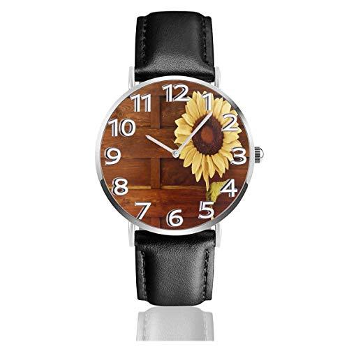 Reloj de Pulsera Girasol y Madera Correa de Cuero sintético Duradero Relojes de Negocios de Cuarzo Reloj de Pulsera Informal Unisex