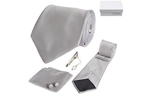 Coffret Ribeirão Preto - Cravate gris clair, boutons de manchette, pince à cravate, pochette de costume