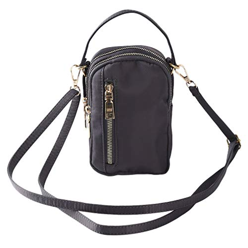 Check Out This UINKE Tri Layer Zipper Crossbody Bags Unisex Nylon Simple Mini Travel Handbags,Gray