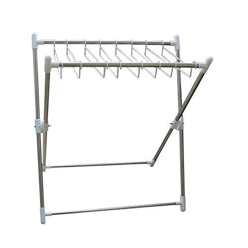 Perchero plegable para secado de ropa Perchero plegable para secado en el piso Barra para ropa en forma de X Perchero de acero inoxidable para balcón Perchero de secado Sencillo y doble para un fácil
