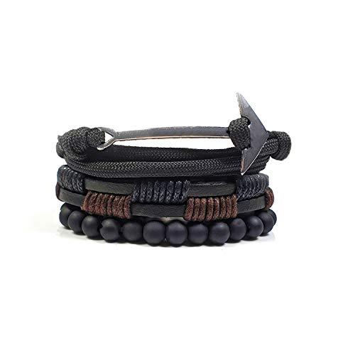 Armband Set Verstellbar 3 Armbänder Anker Perlen Leder Herren Damen Unisex Schwarz