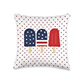 Patriotic Pillow Co. 4th of July Popsicle Red White Blue Patriotic Decor Throw Pillow, 16x16, Multicolor