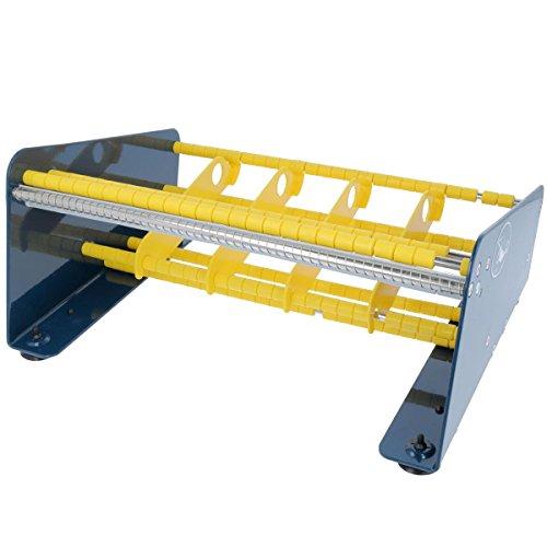 TE-Office Dispensador de etiquetas de acero para etiquetas adhesivas dispositivo de mesa manual hasta 315 mm, incluye 4 separadores de rollo