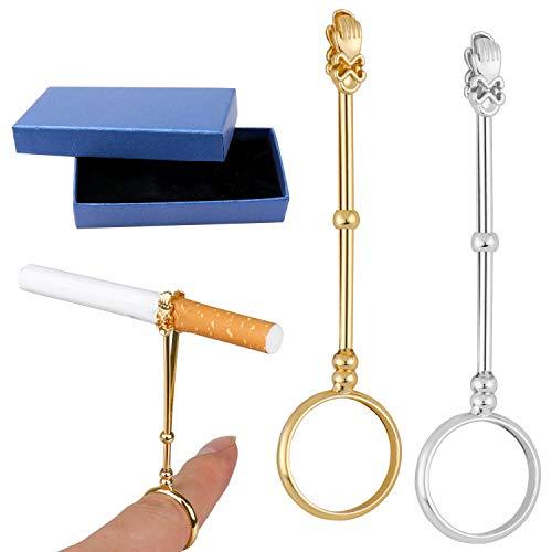Homgaty 2 Stuks Sigarettenhouder Ring met een geschenkdoos, Vinger Sigarettenhouder Ring, Elegante Roken Ring Houder voor Vrouwe Vrouwen en Mannen (Goud en Zilver, 0.67 Inch)