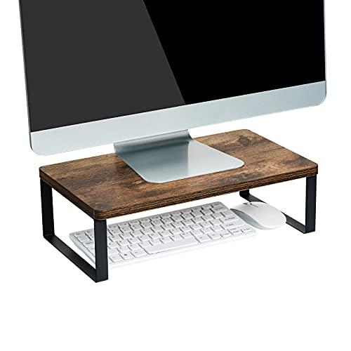 Giikin Vintage Wood Monitor Stand Riser, Ergonomic Desk & Tabletop Organizer Desktop Storage Shelf for Laptop, Computer, MacBook, Notebook, PC, Dark Brown
