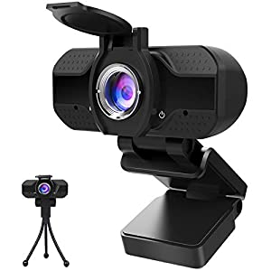 1080P Webcam with Microphone and Privacy Cover, Computer Camera with Tripod, Web Cameras for Computers Laptop Video…