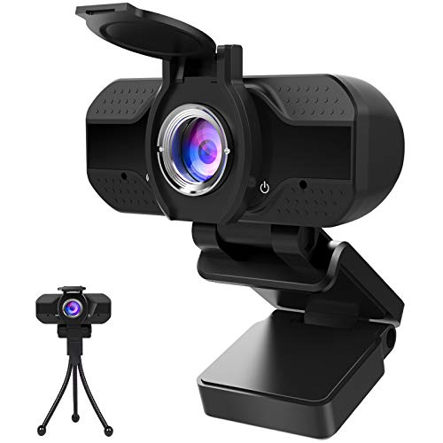1080P Webcam with Microphone and Privacy Cover, Computer Camera with Tripod, Web Cameras for...
