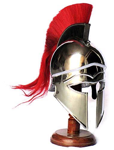 AnNafi Casco corintio griego medieval | Rplica de casco de acero rojo Plume | Armadura de casco porttil | Disfraz LARP de caballero romano