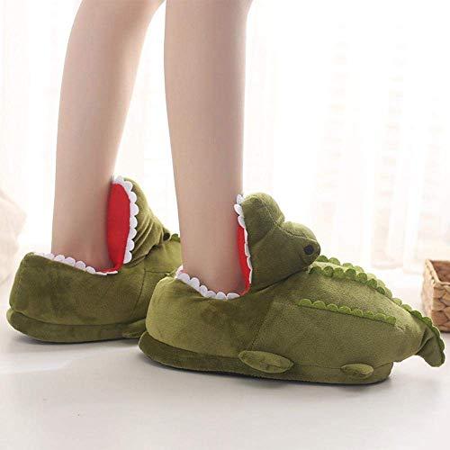 SLM-max Zapatillas Unisex,de casa de Invierno para Mujer, Suaves, cálidas, para Interiores, Zapatos de Piso, Divertidos Dibujos Animados, diseño de cocodrilo de Felpa, Zapatos Acolchados de Algo