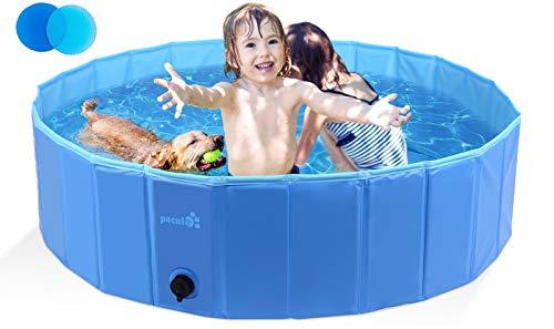 Pecute Hundepool Schwimmbad Für Hunde und Katzen Swimmingpool Hund Planschbecken Hundebadewanne Faltbarer Pool Für Kinder Den Hund Katze Geschenk - Haustier Badebürste M (120*30cm)
