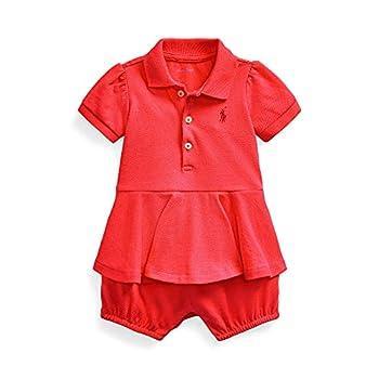 Ralph Lauren Baby Girl Peplum Mesh Bubble Shortall  Hibiscus 5017  6 Months 6_Months